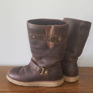 UGG Kensington brown leather sheepskin boots